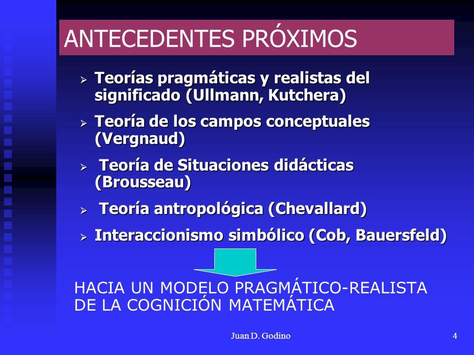 Juan D. Godino4 ANTECEDENTES PRÓXIMOS Teorías pragmáticas y realistas del significado (Ullmann, Kutchera) Teorías pragmáticas y realistas del signific