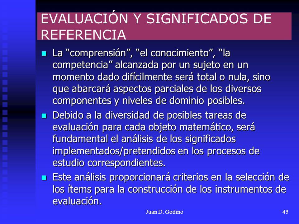 Juan D. Godino45 EVALUACIÓN Y SIGNIFICADOS DE REFERENCIA La comprensión, el conocimiento, la competencia alcanzada por un sujeto en un momento dado di