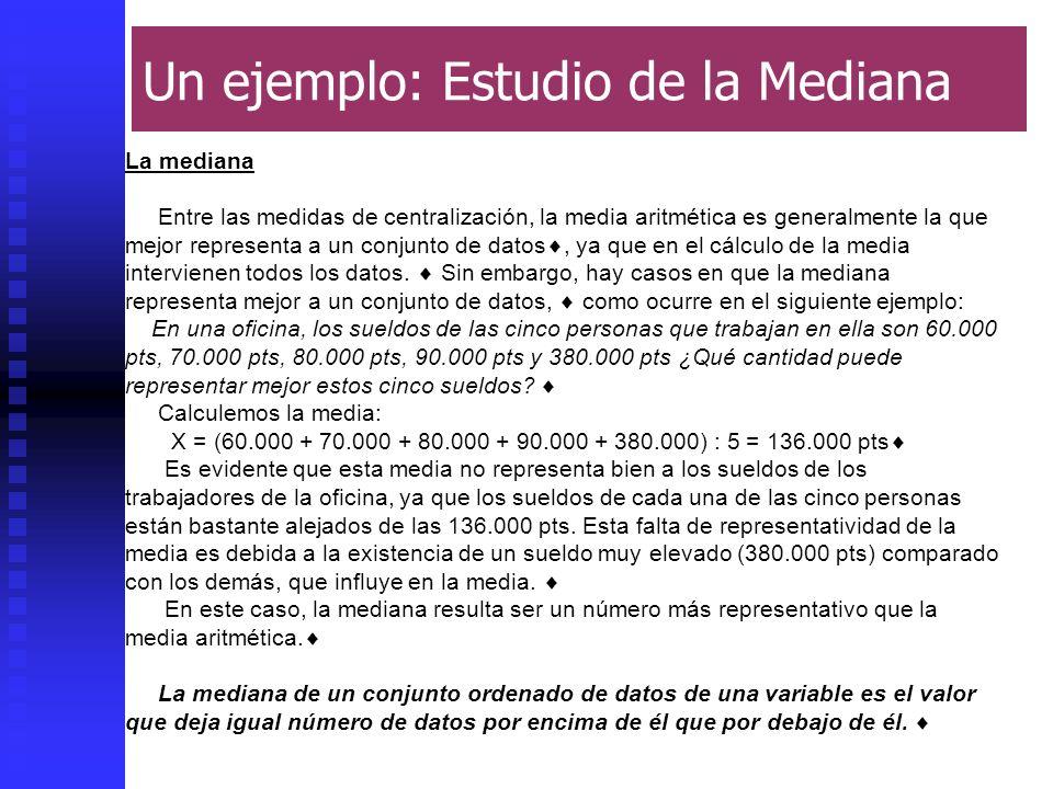 Juan D. Godino5 Un ejemplo: Estudio de la Mediana La mediana Entre las medidas de centralización, la media aritmética es generalmente la que mejor rep