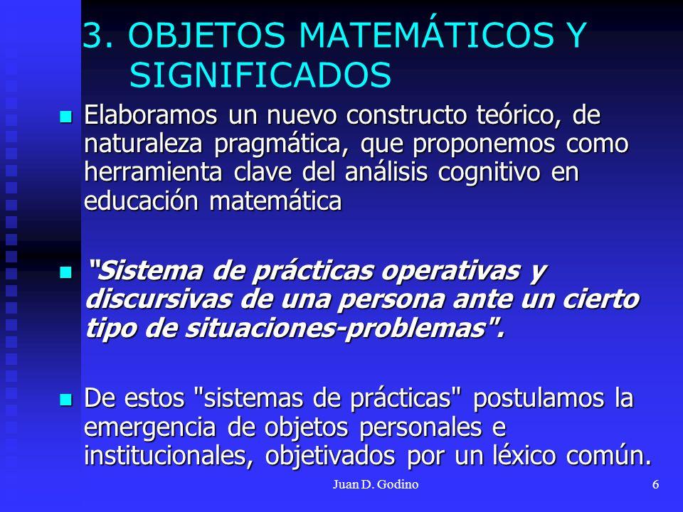 Juan D. Godino6 Elaboramos un nuevo constructo teórico, de naturaleza pragmática, que proponemos como herramienta clave del análisis cognitivo en educ