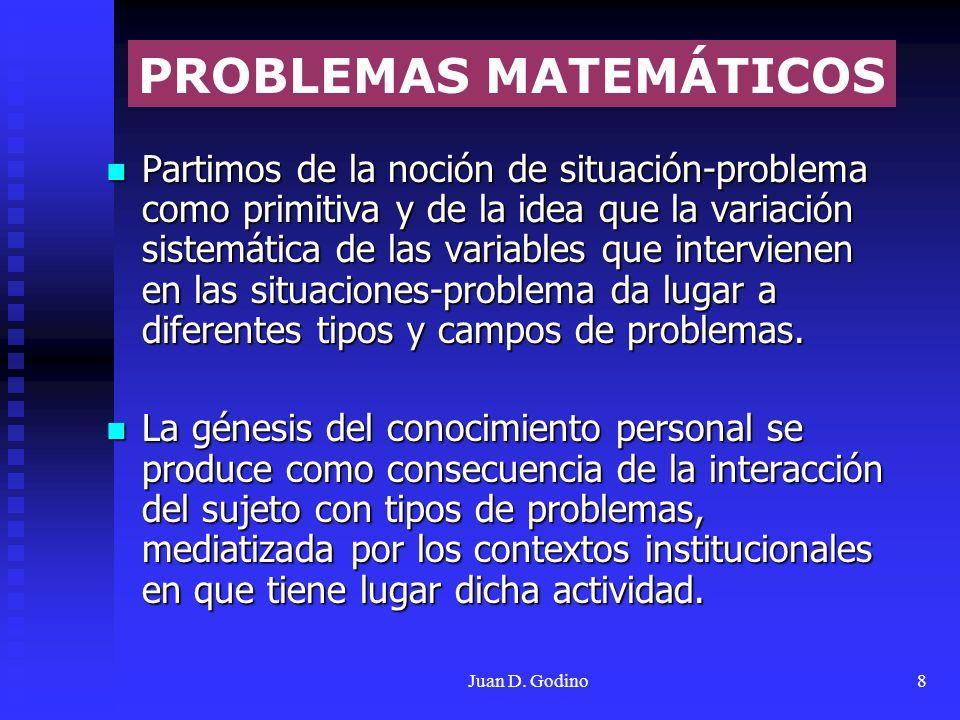 Juan D. Godino8 Partimos de la noción de situación-problema como primitiva y de la idea que la variación sistemática de las variables que intervienen