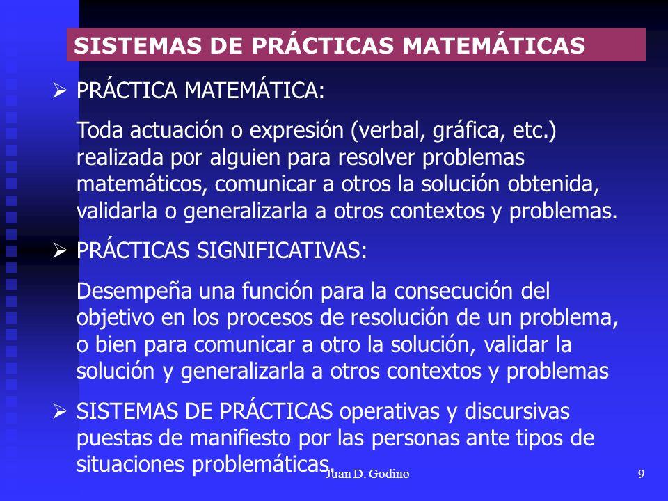 Juan D. Godino9 PRÁCTICA MATEMÁTICA: Toda actuación o expresión (verbal, gráfica, etc.) realizada por alguien para resolver problemas matemáticos, com