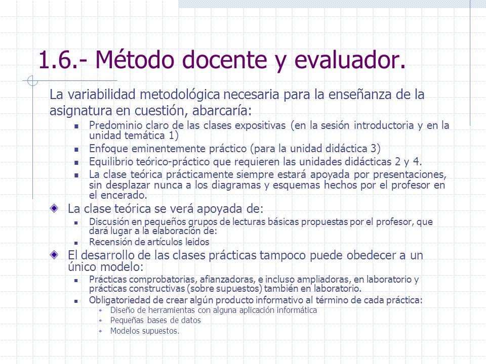 1.6.- Método docente y evaluador. La variabilidad metodológica necesaria para la enseñanza de la asignatura en cuestión, abarcaría: Predominio claro d