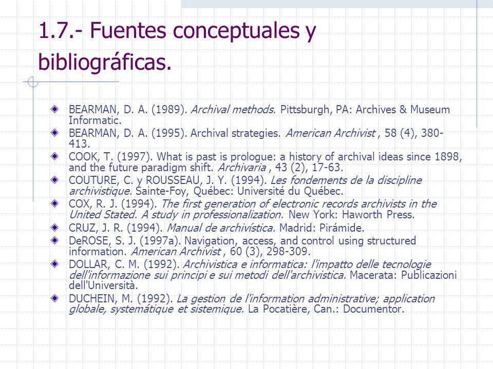 1.7.- Fuentes conceptuales y bibliográficas. BEARMAN, D. A. (1989). Archival methods. Pittsburgh, PA: Archives & Museum Informatic. BEARMAN, D. A. (19
