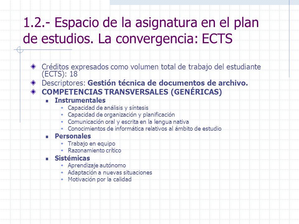 1.2.- Espacio de la asignatura en el plan de estudios. La convergencia: ECTS Créditos expresados como volumen total de trabajo del estudiante (ECTS):