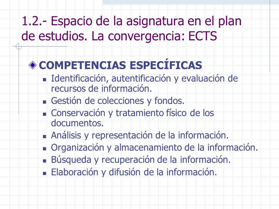 1.2.- Espacio de la asignatura en el plan de estudios. La convergencia: ECTS COMPETENCIAS ESPECÍFICAS Identificación, autentificación y evaluación de
