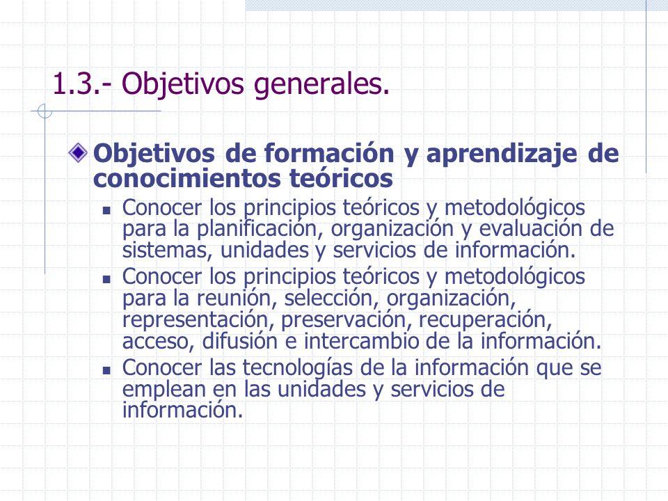 1.3.- Objetivos generales. Objetivos de formación y aprendizaje de conocimientos teóricos Conocer los principios teóricos y metodológicos para la plan