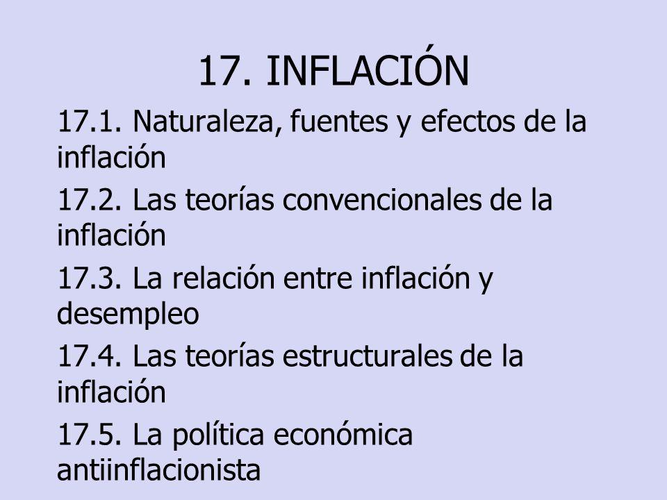 17. INFLACIÓN 17.1. Naturaleza, fuentes y efectos de la inflación 17.2. Las teorías convencionales de la inflación 17.3. La relación entre inflación y