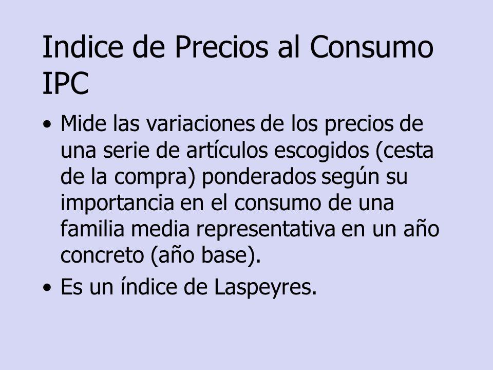 Indice de Precios al Consumo IPC Mide las variaciones de los precios de una serie de artículos escogidos (cesta de la compra) ponderados según su impo