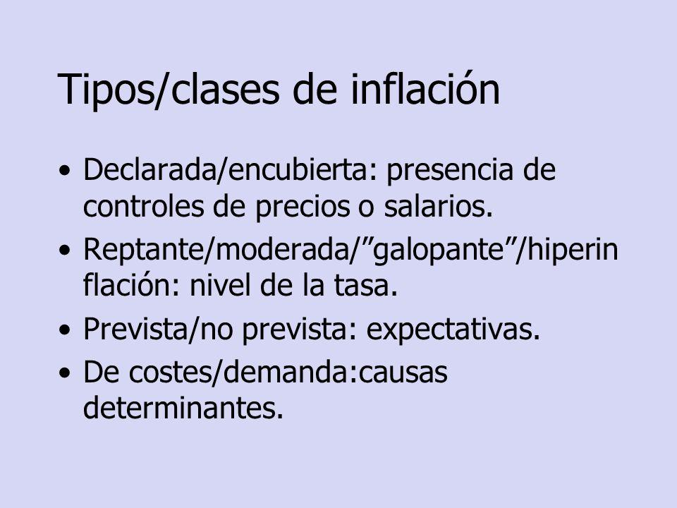 Tipos/clases de inflación Declarada/encubierta: presencia de controles de precios o salarios. Reptante/moderada/galopante/hiperin flación: nivel de la