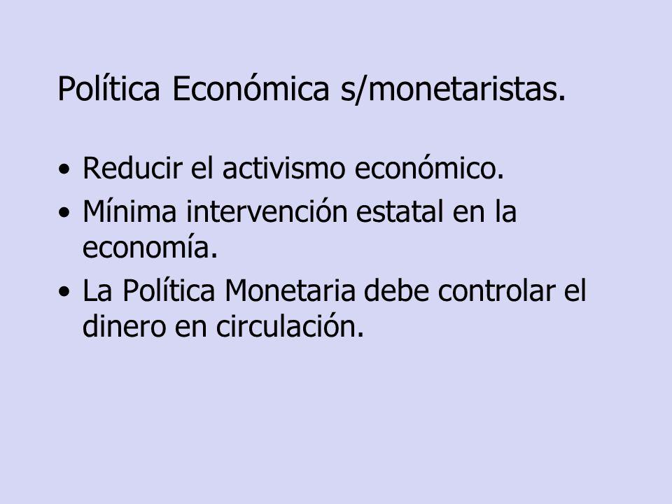 Política Económica s/monetaristas. Reducir el activismo económico. Mínima intervención estatal en la economía. La Política Monetaria debe controlar el