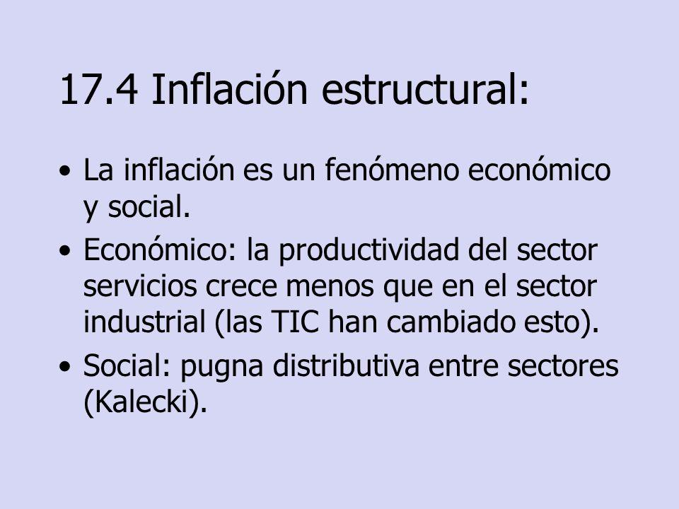 17.4 Inflación estructural: La inflación es un fenómeno económico y social. Económico: la productividad del sector servicios crece menos que en el sec