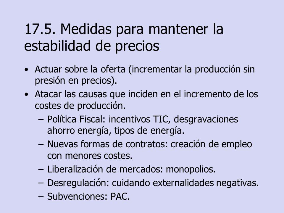 17.5. Medidas para mantener la estabilidad de precios Actuar sobre la oferta (incrementar la producción sin presión en precios). Atacar las causas que