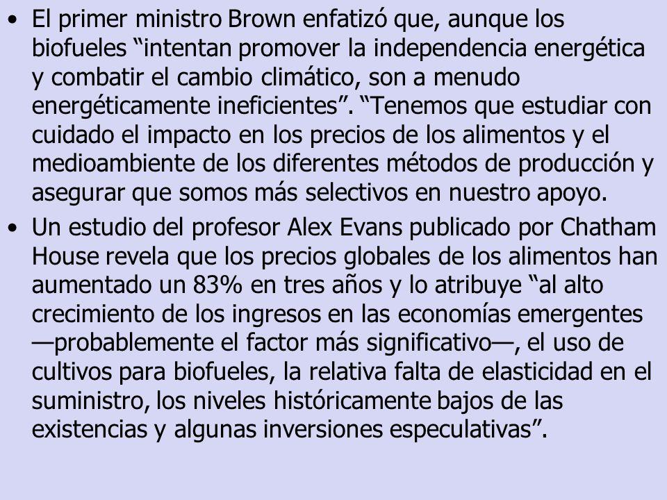 El primer ministro Brown enfatizó que, aunque los biofueles intentan promover la independencia energética y combatir el cambio climático, son a menudo
