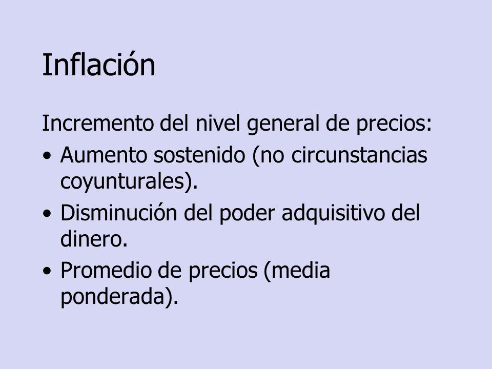 Inflación Incremento del nivel general de precios: Aumento sostenido (no circunstancias coyunturales). Disminución del poder adquisitivo del dinero. P