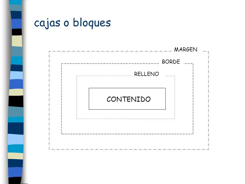 cajas o bloques padding padding-left border border-top margin margin-right Grosores: -width Estilos: -style Colores: -color NOTA {padding:20px; border-left-width:thin; border-left-color:black; border-left-style:dotted; border-top-width:medium; border-top-color:blue; border-top-style:double; border-right-width:thick; border-right-color;green; border-right-style:solid; border-bottom-width:2px; border-bottom-color:red; border-bottom-style:groove; margin:45px} Posicionamiento position:absolute position:normal position:relative float:left z-index