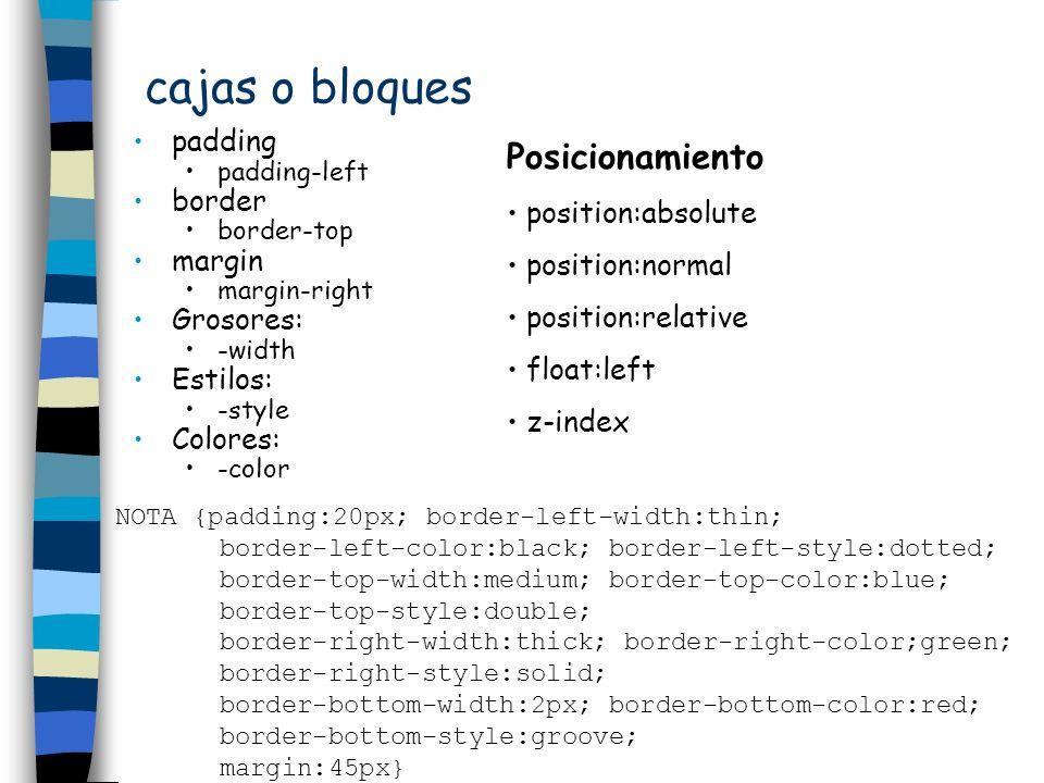 unidades de medida emse refiere al tamaño de las mayúsculas (letra M) del tipo de letra aue se toma como referencia) exse refiere al tamaño de las minúsculas (letra x) del tipo de letra que se toma como referencia pxse refiere a los puntos de la pantalla (píxeles) con la resolución que está en activo %se refiere al porcentaje del valor dependiente del contexto NOTA { font-size:10; line-height:1.5em } TITULO { font-size:18; letter-spacing:1ex } SUBTITULO { font-size:14; word-spacing:200% } PARRAFO { font-size:12; margin-left:25px } Relativas: Absolutas: inpulgadas.