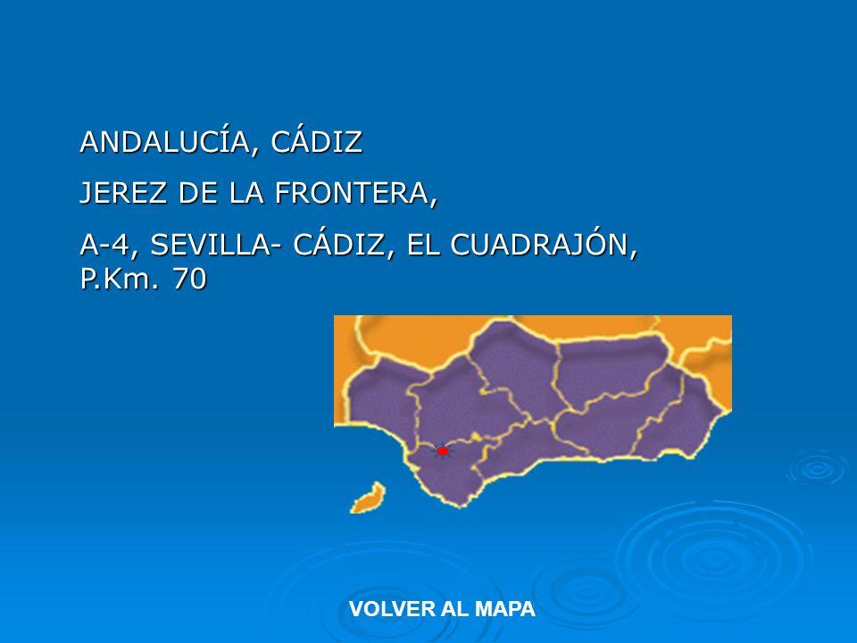 ANDALUCÍA, CÁDIZ JEREZ DE LA FRONTERA, A-4, SEVILLA- CÁDIZ, EL CUADRAJÓN, P.Km. 70 VOLVER AL MAPA