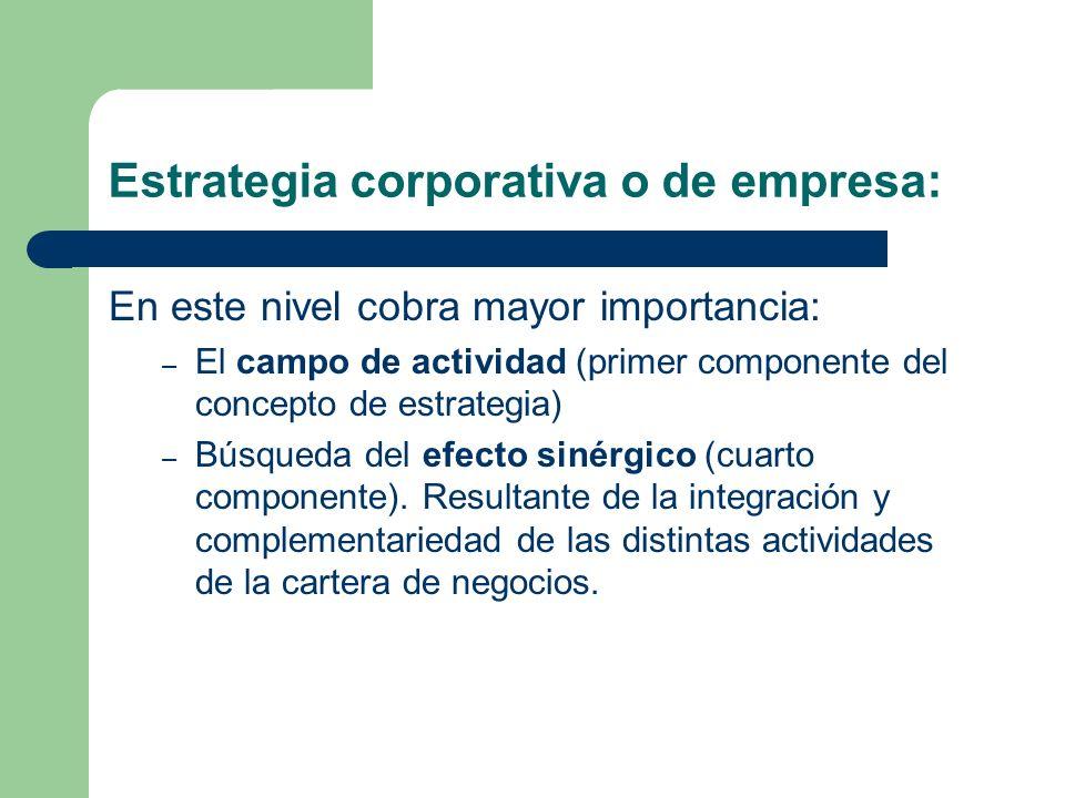 Estrategia corporativa o de empresa: En este nivel cobra mayor importancia: – El campo de actividad (primer componente del concepto de estrategia) – Búsqueda del efecto sinérgico (cuarto componente).