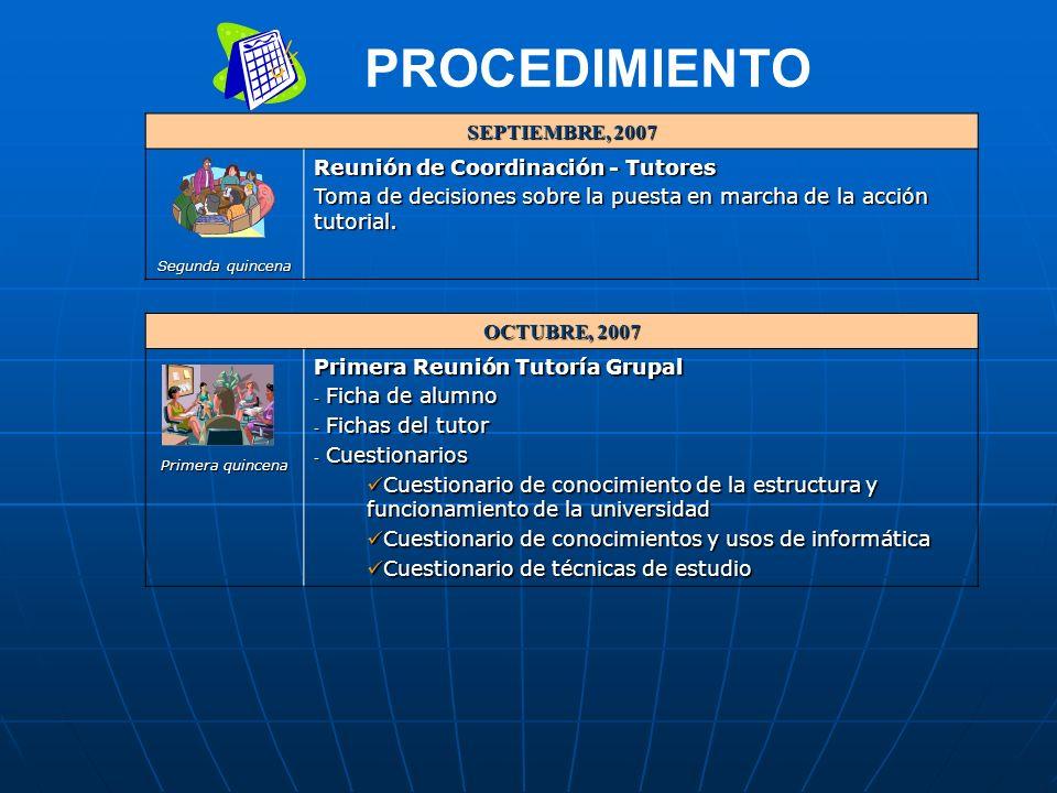 SEPTIEMBRE, 2007 Segunda quincena Reunión de Coordinación - Tutores Toma de decisiones sobre la puesta en marcha de la acción tutorial.