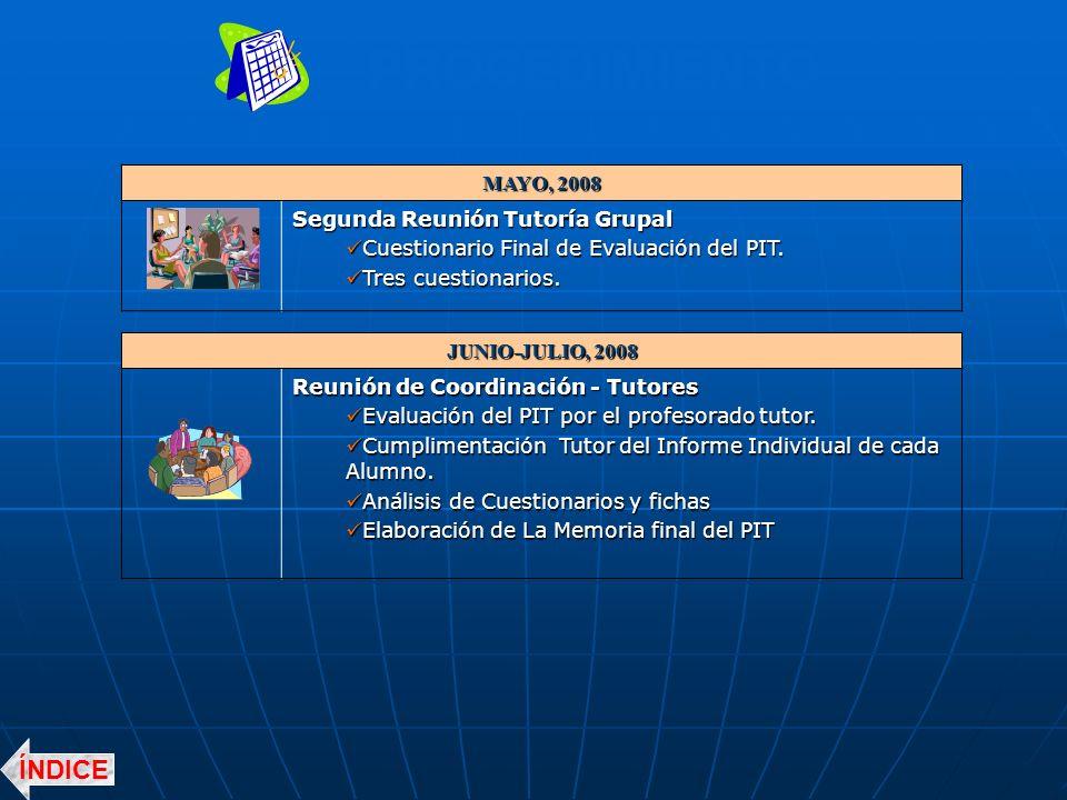PROCEDIMIENTO MAYO, 2008 Segunda Reunión Tutoría Grupal Cuestionario Final de Evaluación del PIT.