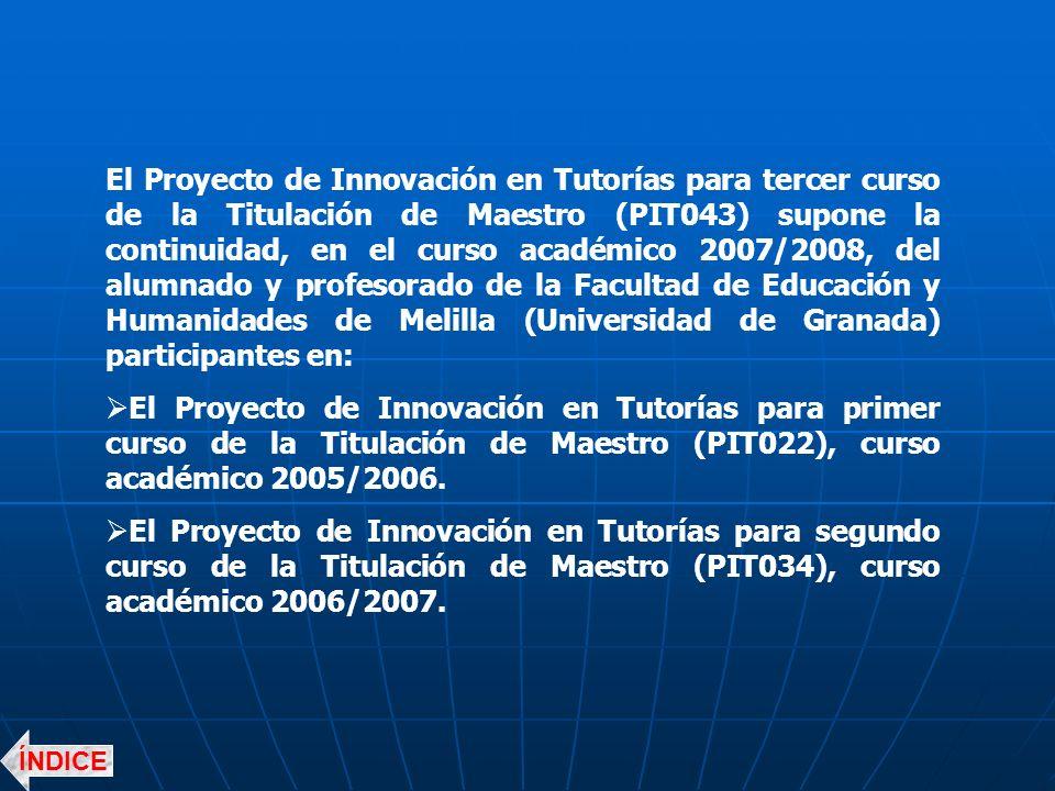 El Proyecto de Innovación en Tutorías para tercer curso de la Titulación de Maestro (PIT043) supone la continuidad, en el curso académico 2007/2008, del alumnado y profesorado de la Facultad de Educación y Humanidades de Melilla (Universidad de Granada) participantes en: El Proyecto de Innovación en Tutorías para primer curso de la Titulación de Maestro (PIT022), curso académico 2005/2006.
