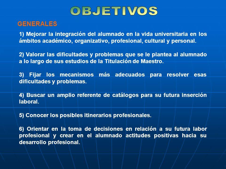 1) Mejorar la integración del alumnado en la vida universitaria en los ámbitos académico, organizativo, profesional, cultural y personal.