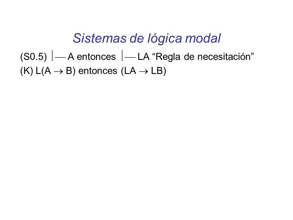 Sistemas de lógica modal (S0.5) A entonces LA Regla de necesitación (K) L(A B) entonces (LA LB)