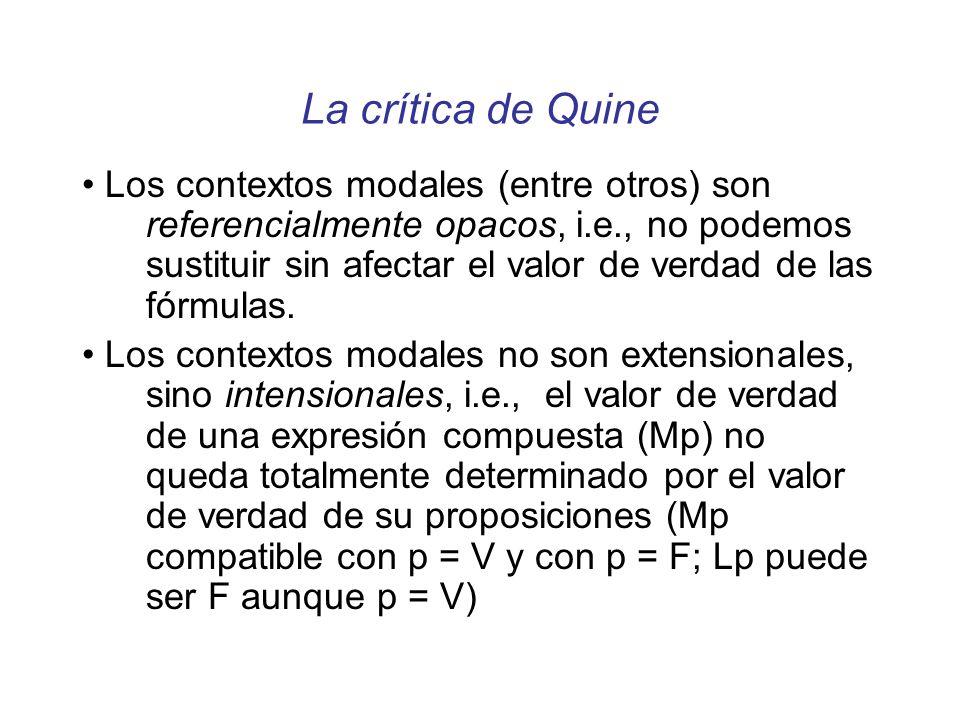 La crítica de Quine Los contextos modales (entre otros) son referencialmente opacos, i.e., no podemos sustituir sin afectar el valor de verdad de las