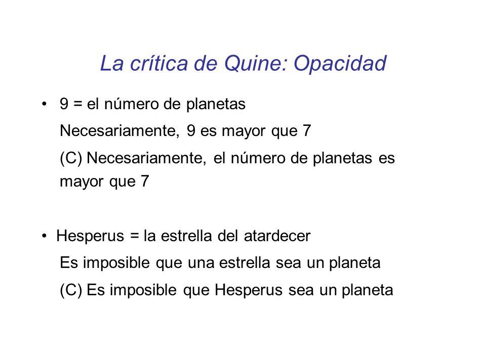 La crítica de Quine: Opacidad 9 = el número de planetas Necesariamente, 9 es mayor que 7 (C) Necesariamente, el número de planetas es mayor que 7 Hesp