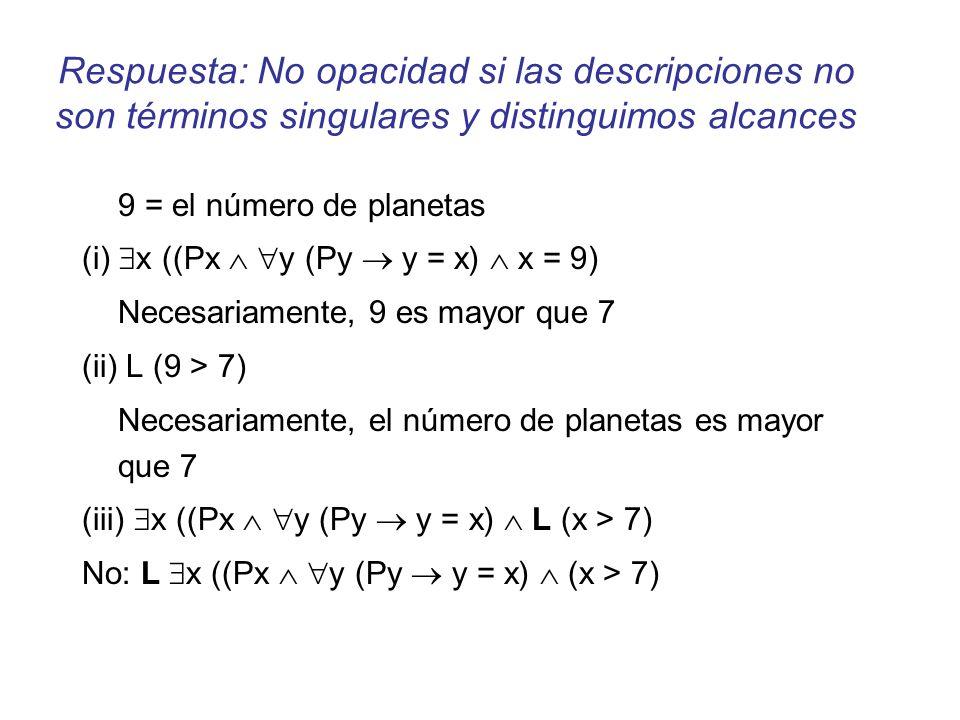 Respuesta: No opacidad si las descripciones no son términos singulares y distinguimos alcances 9 = el número de planetas (i) x ((Px y (Py y = x) x = 9