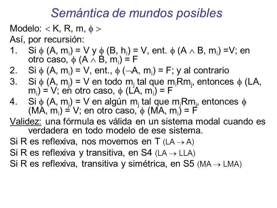 Semántica de mundos posibles Modelo: K, R, m, Así, por recursión: 1. Si (A, m i ) = V y (B, h i ) = V, ent. (A B, m i ) =V; en otro caso, (A B, m i )