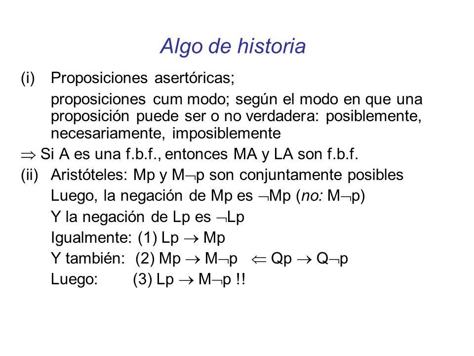 Sistemas de lógica modal (S0.5) A entonces LA Regla de necesitación (K) L(A B) entonces (LA LB) (D) LA MA (T) LA A (S4) LA LLA (S5) MA LMA (B) A LMA (No: LMA A)