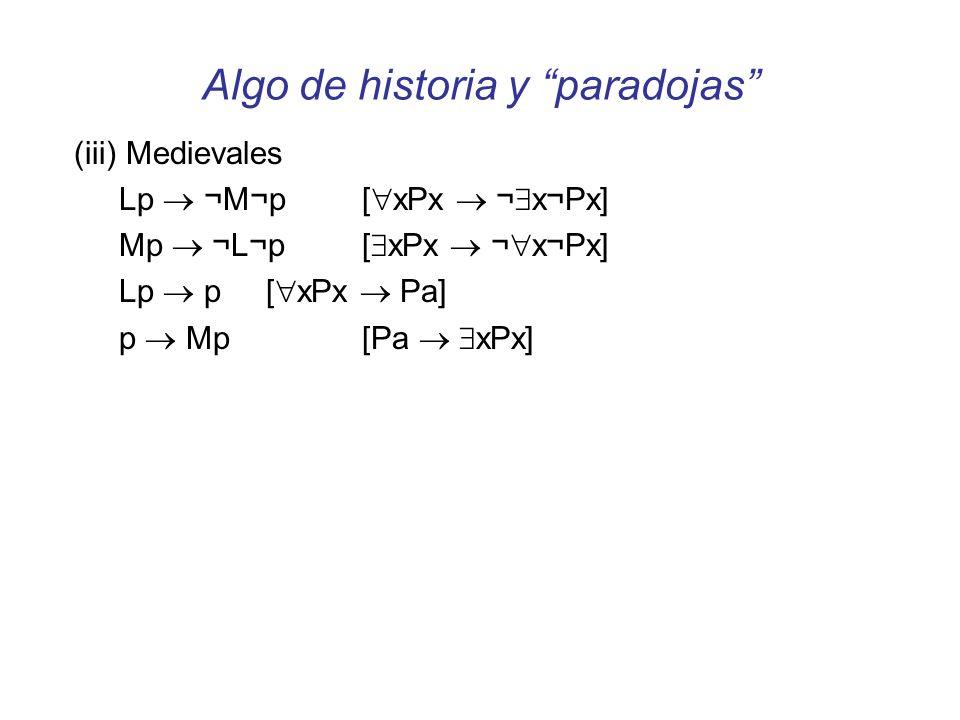Algo de historia y paradojas (iii) Medievales Lp ¬M¬p [ xPx ¬ x¬Px] Mp ¬L¬p[ xPx ¬ x¬Px] Lp p [ xPx Pa] p Mp [Pa xPx] (iv) Paradojas de la implicación material p q ¬(p ¬q) V V V V F F F V Vq (p q) F F V¬p (p q)