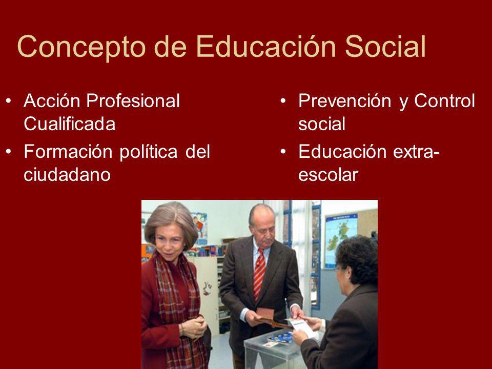 Concepto de Educación Social Acción Profesional Cualificada Formación política del ciudadano Prevención y Control social Educación extra- escolar