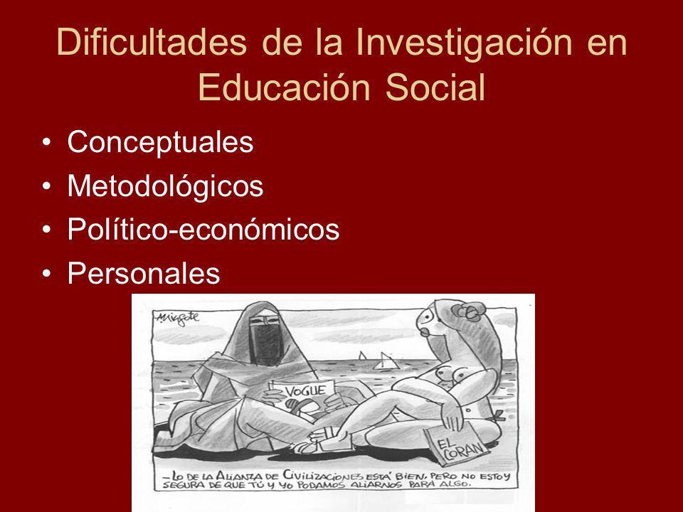 Dificultades de la Investigación en Educación Social Conceptuales Metodológicos Político-económicos Personales
