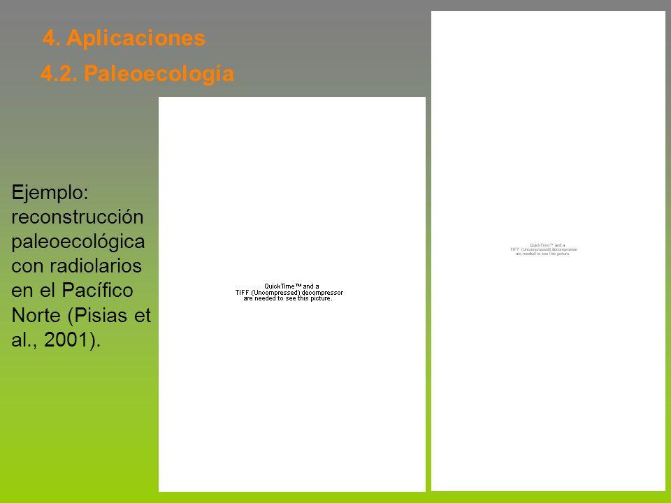 4. Aplicaciones 4.2. Paleoecología Ejemplo: reconstrucción paleoecológica con radiolarios en el Pacífico Norte (Pisias et al., 2001).