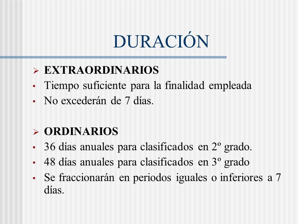 DURACIÓN EXTRAORDINARIOS Tiempo suficiente para la finalidad empleada No excederán de 7 días. ORDINARIOS 36 días anuales para clasificados en 2º grado