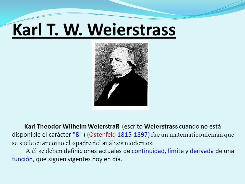 Karl T. W. Weierstrass Karl Theodor Wilhelm Weierstraß (escrito Weierstrass cuando no está disponible el carácter