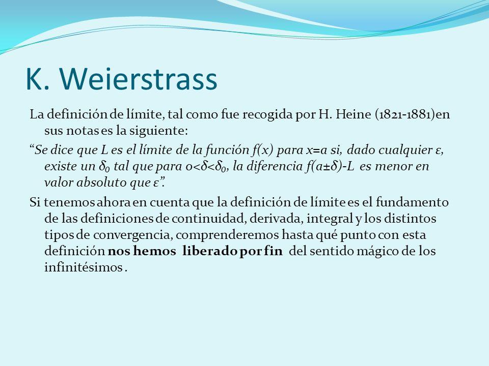 K. Weierstrass La definición de límite, tal como fue recogida por H. Heine (1821-1881)en sus notas es la siguiente: Se dice que L es el límite de la f