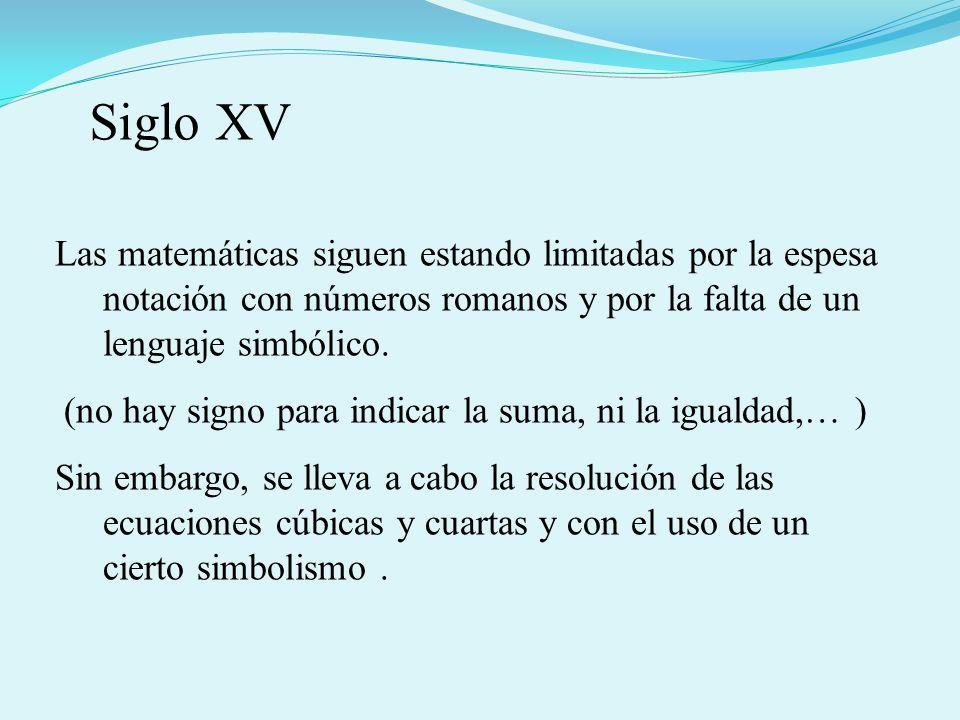 Las matemáticas siguen estando limitadas por la espesa notación con números romanos y por la falta de un lenguaje simbólico.