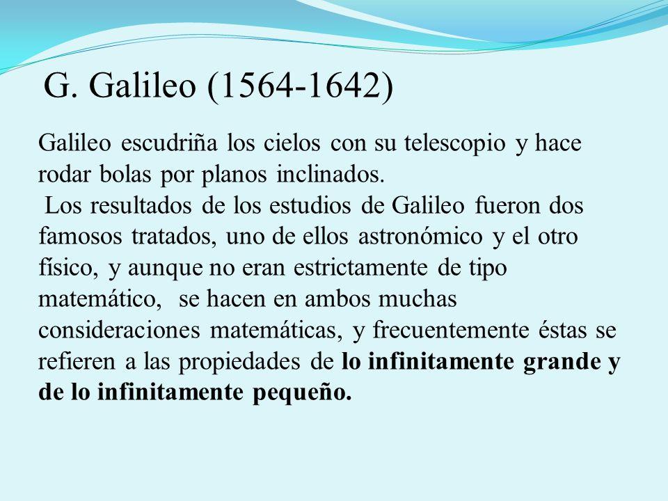 Galileo escudriña los cielos con su telescopio y hace rodar bolas por planos inclinados. Los resultados de los estudios de Galileo fueron dos famosos