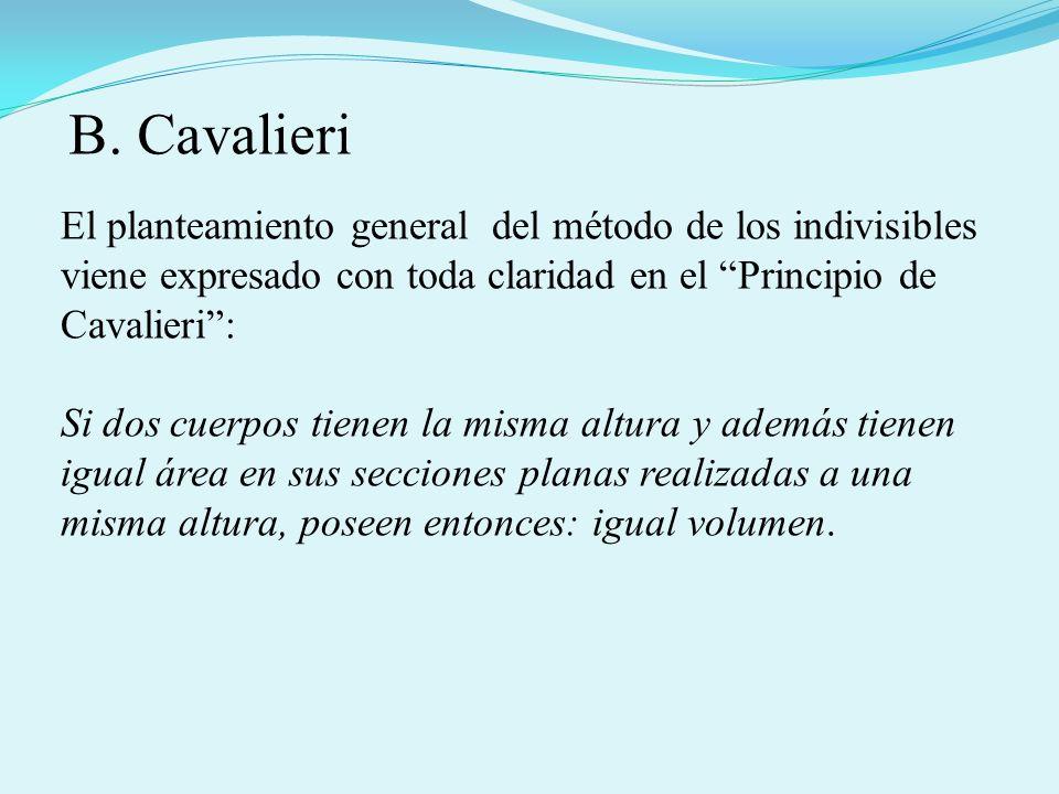 El planteamiento general del método de los indivisibles viene expresado con toda claridad en el Principio de Cavalieri: Si dos cuerpos tienen la misma altura y además tienen igual área en sus secciones planas realizadas a una misma altura, poseen entonces: igual volumen.