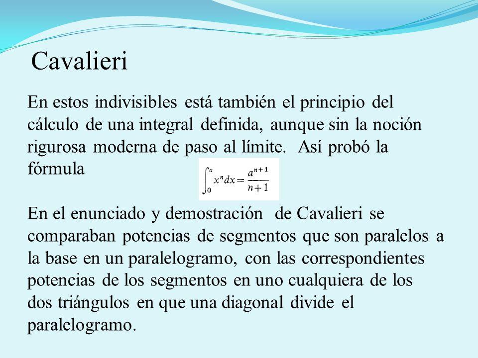 En estos indivisibles está también el principio del cálculo de una integral definida, aunque sin la noción rigurosa moderna de paso al límite. Así pro