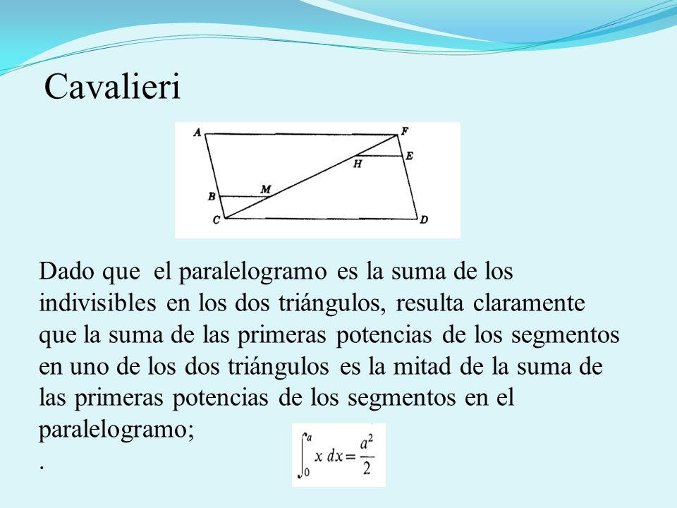 Dado que el paralelogramo es la suma de los indivisibles en los dos triángulos, resulta claramente que la suma de las primeras potencias de los segmentos en uno de los dos triángulos es la mitad de la suma de las primeras potencias de los segmentos en el paralelogramo;.