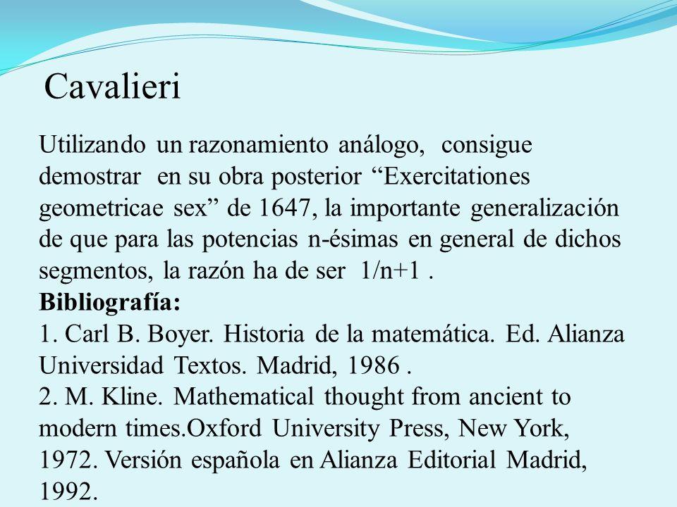Utilizando un razonamiento análogo, consigue demostrar en su obra posterior Exercitationes geometricae sex de 1647, la importante generalización de qu