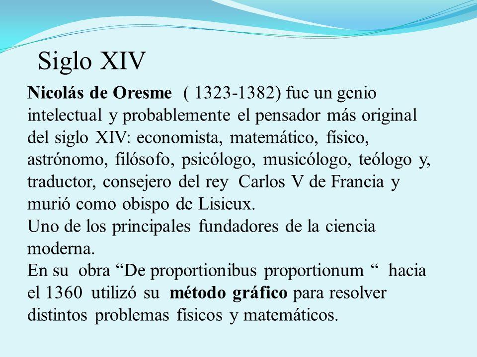 Nicolás de Oresme ( 1323-1382) fue un genio intelectual y probablemente el pensador más original del siglo XIV: economista, matemático, físico, astrónomo, filósofo, psicólogo, musicólogo, teólogo y, traductor, consejero del rey Carlos V de Francia y murió como obispo de Lisieux.