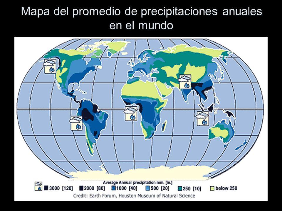 Este mapa muestra la precipitación anual promedio del mundo en milímetros.