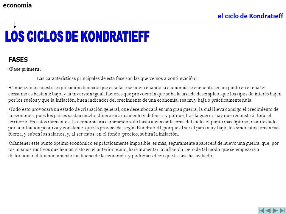 economía el ciclo de Kondratieff FASES Fase primera. Las características principales de esta fase son las que vemos a continuación: Comenzamos nuestra