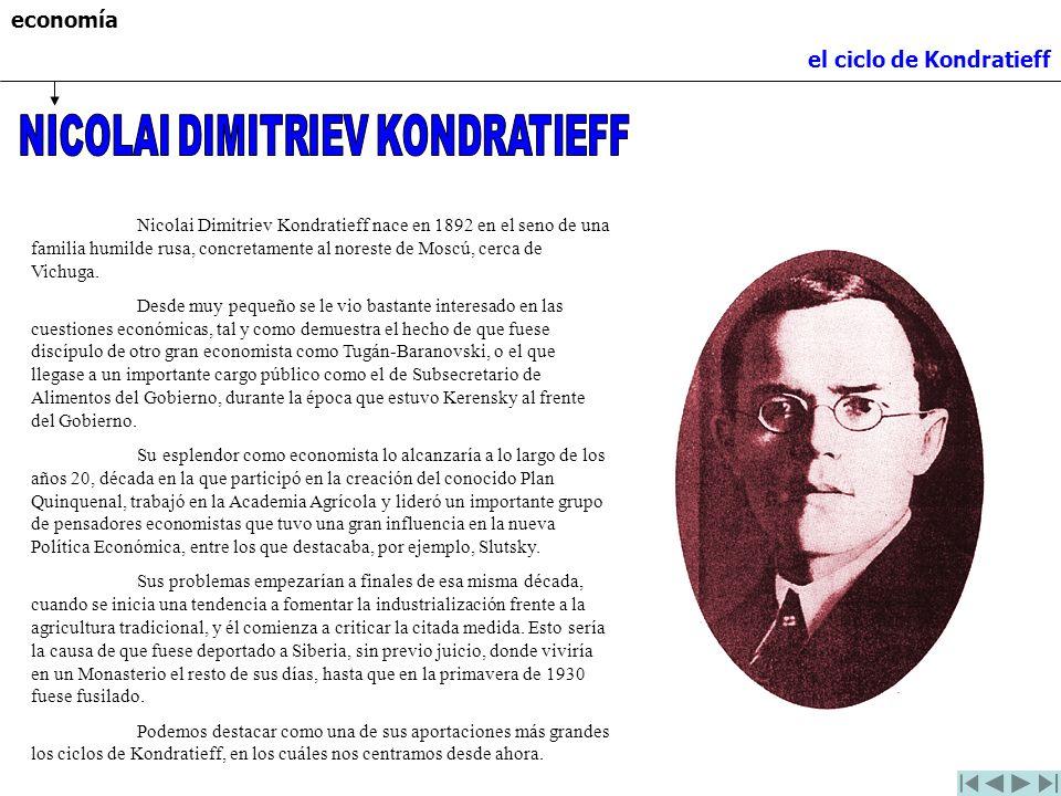economía el ciclo de Kondratieff Nicolai Dimitriev Kondratieff nace en 1892 en el seno de una familia humilde rusa, concretamente al noreste de Moscú,